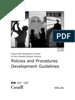 Canada FRMS Policies & Procedures Development Guidelines