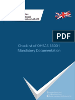 Checklist of OHSAS 18001 Mandatory Documentation