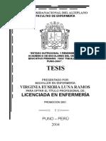Tesis Estado Nutricional y Rendimiento Académico de Escolares Del Centro Educativo Primario 70007 Tiquillaca Puno-2003