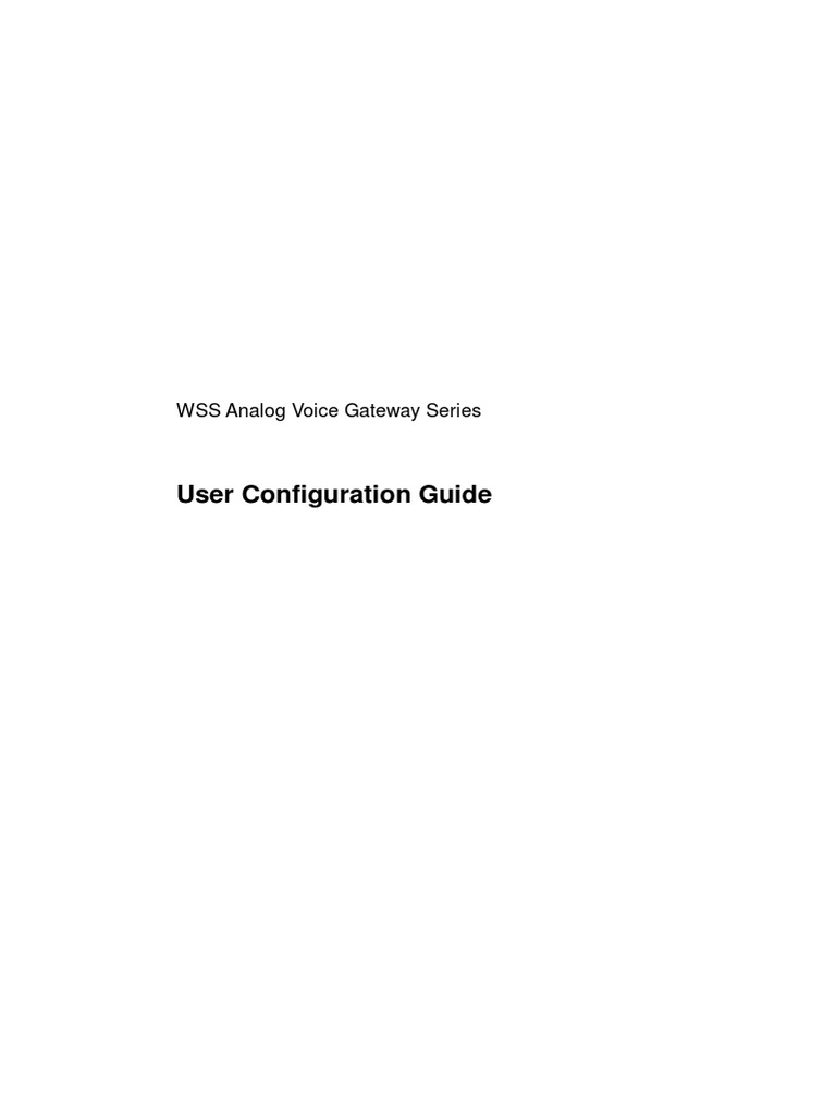 WSS VoIP Gateways UserManual | Session Initiation Protocol
