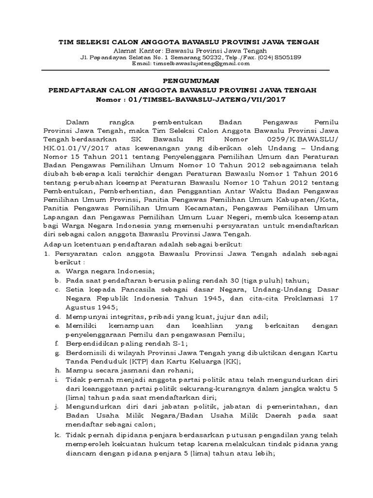 Pengumuman Dan Form Pendaftaran Bawaslu Provinsi Jawa Tengah