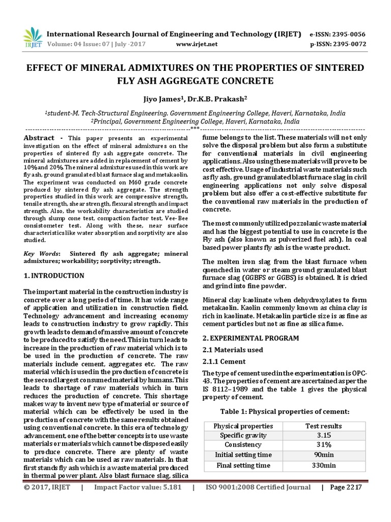 Effect of Mineral Admixtures on the Properties of Sintered