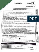 Paper 1 Code 1 Question Paper