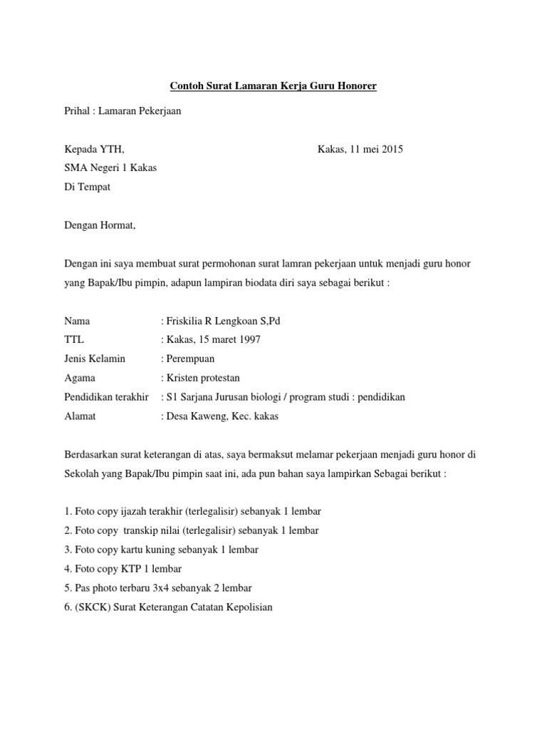 Contoh Surat Lamaran Kerja Perpustakaan Sekolah Contoh Lif Co Id