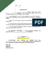 Affidavit of Absent Witness