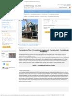 Formaldehyde Plant , Formaldehyde Equipment , Formalin Plant , Formadehyde Techn