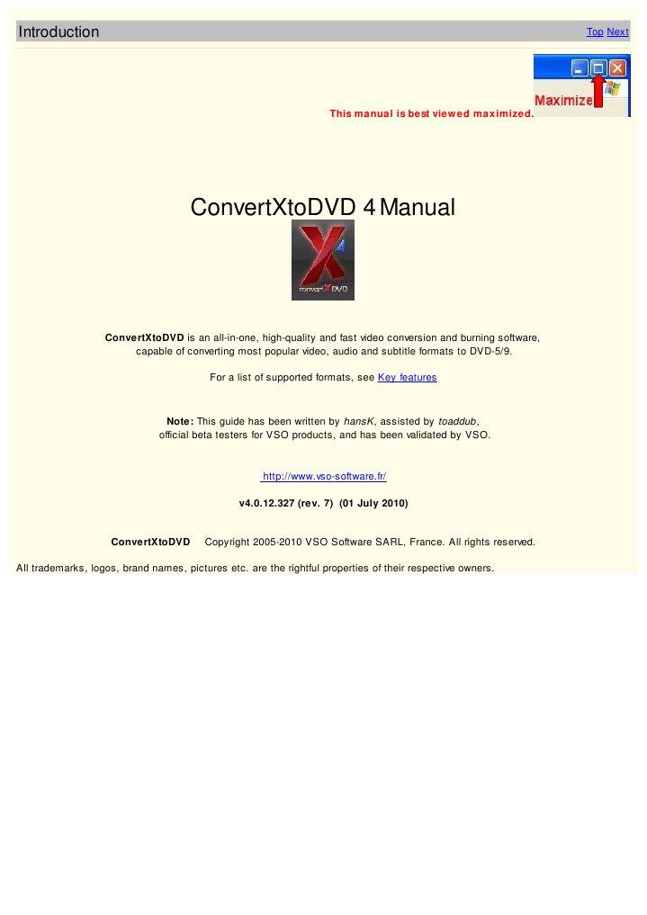 Инструкция по convertxtodvd