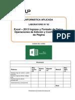 Lab 02 - Excel 2013 - Ingreso y Formato de Datos Operaciones de Edición y Condiguración de Página