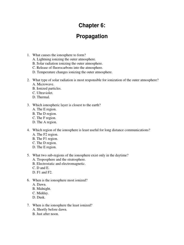 Chapter 6 Quiz | Radio Propagation | Ionosphere