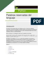 Palabras Reservadas de Python