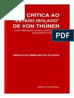 Crítica Ao Estado Isolado de Von Thunen