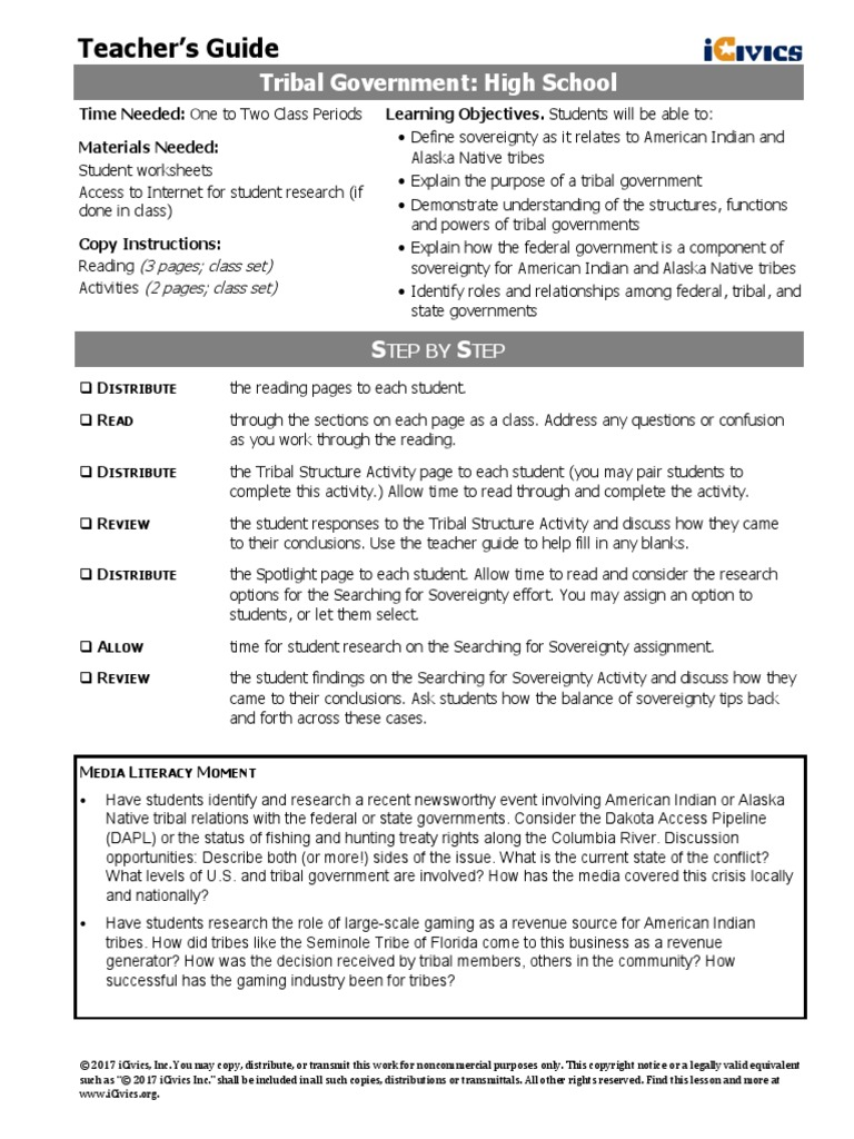 tribal govt icivics lesson plan tribal sovereignty in the united rh es scribd com iCivics Answers Expresed Powers ARGUMENT Wars iCivics Worksheet Answers
