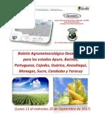 Boletin Agrometeorologico 11 Al 20 de Septiembre 2017