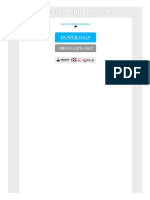 Export to PDF Php Codeigniter | Php | Portable Document Format