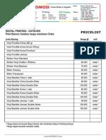 Price List Daftar Harga Percetakan Digital Printing OUTDOOR DEPRINTZ September 2014