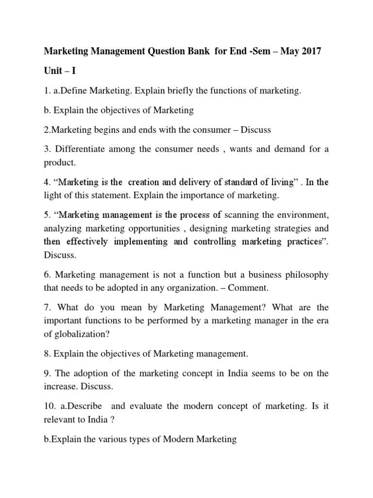 Marketing Management Question Bank For Mid Marketing Strategic