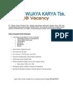 37017_Kualifikasi Calon Pegawai PT Wijaya Karya- Jakarta Juli 2017