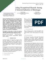 Awareness Regarding Occupational Hazards Among the Workers of Selected Industries of Biratnagar