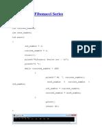 C Program Fibonacci Series