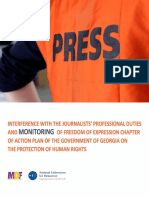 Interference with the Journalists' Professional Duties and Monitoring of Freedom of Expression Chapter of the Action Plan of the Government of Georgia on the Protection of Human Rights