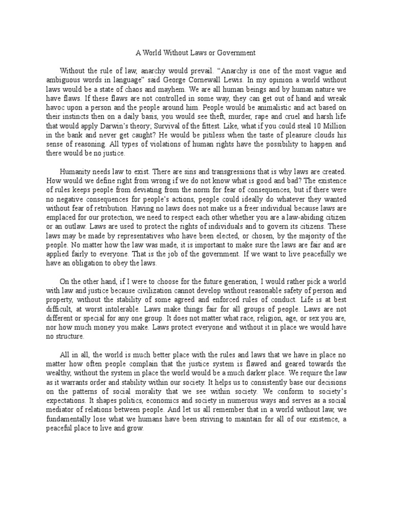 world without laws essay
