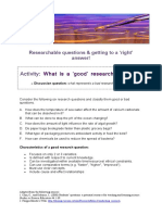 Researchable-questions and Right-Answers Activity