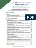 Health, Education, Social Protection News & Notes 17/2010