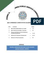 JKPSC Combined Competitive Examination (Preliminary & Mains) Syllabus