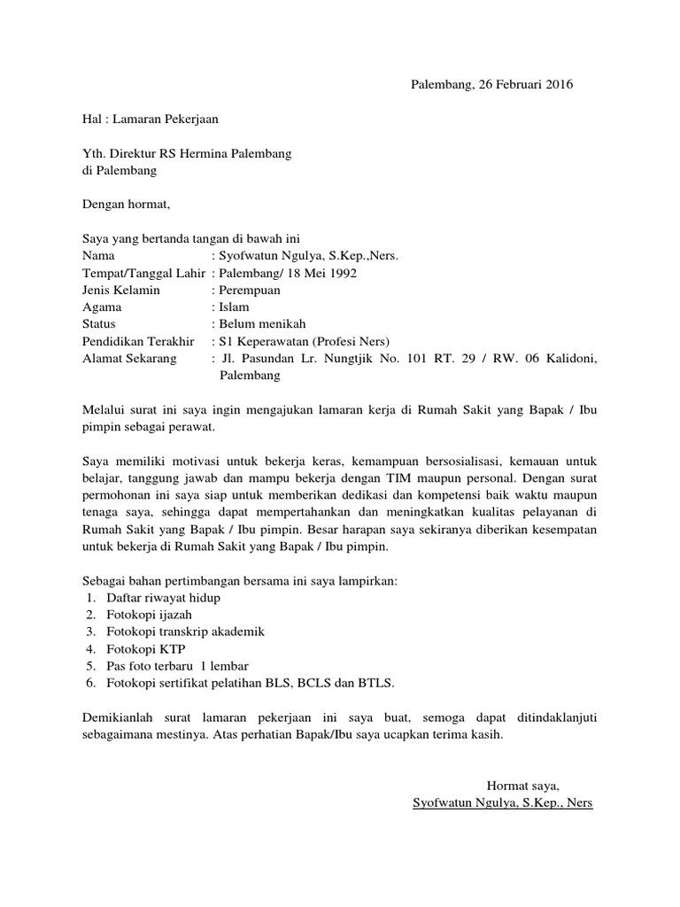 Contoh Surat Lamaran Kerja Untuk Rumah Sakit Kumpulan Contoh Gambar
