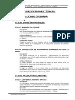 Especificaciones Tecnicas - Captacion de Quebrada