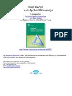 Lehrbuch Applied Kinesiology Hans Garten.11531 1Inhaltsverzeichnis Und Wegweiser