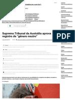"""NOTÍCIA - Supremo Tribunal Da Austrália Aprova Registro de """"Gênero Neutro"""" - Portal Fórum"""