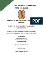 Planeamiento Estratégico - Implementación de Empresa Consultora - CUSCO