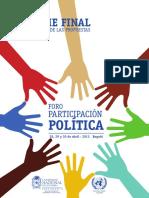 Informe Final Foro Participación Política- Sistematización de Las Propuestas