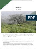 Variación Del Índice de Vegetación de Diferencia Normalizada (NDVI) en Relación Con La Gradiente Altitudinal en Las Lomas de Atocongo (Lima – Perú) – Onerniana