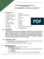 Syllabus Ingenieria Agroindustrial y Ciencia de Alimentos