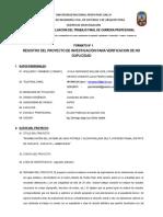 Formato No 1 Registro de Proyecto..