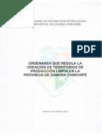 Ordenanza de Territorios de Producción Limpia - Zamora Chinchipe