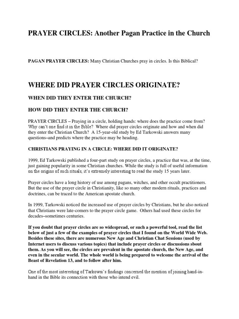 Prayer Circles | Prayer | Christian Belief And Doctrine