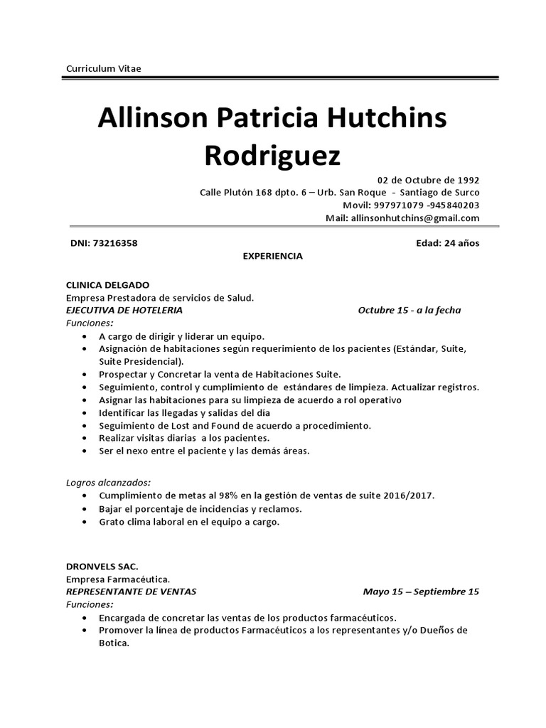 Atractivo Representante De Ventas De Curriculum Vitae Componente ...