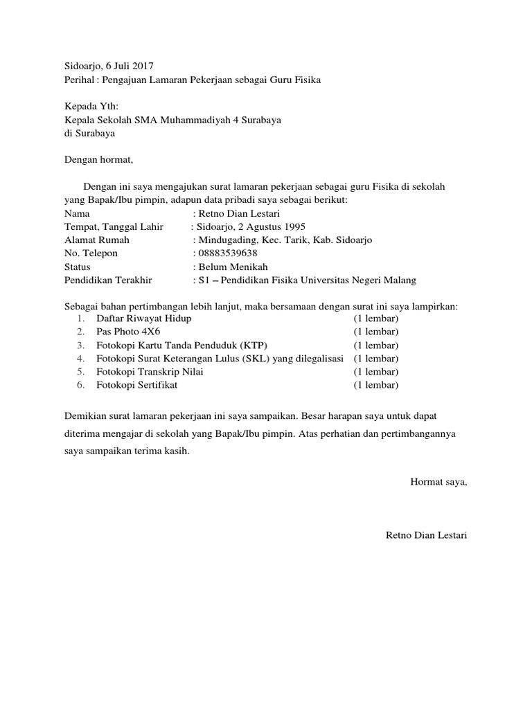 Contoh Surat Lamaran Kerja Sebagai Guru Fisika Contoh Lif Co Id