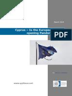 Cyprus – is the European Union Opening Pandora's Box?