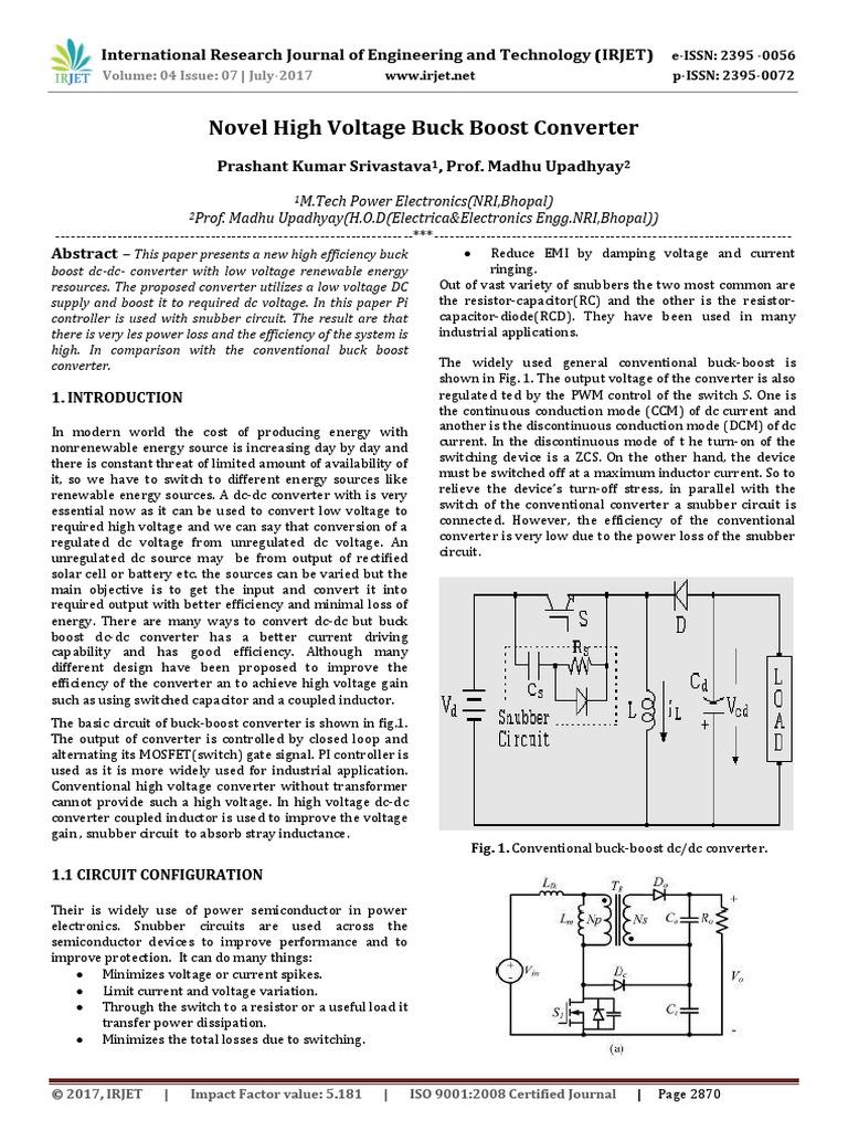 Novel High Voltage Buck Boost Converter Field Effect Transistor Mosfet