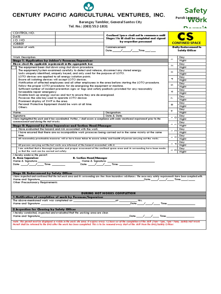 Charming Confined Space Permit Template Contemporary - Entry Level ...