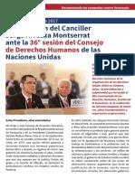 Intervención del Canciller Jorge Arreaza Montserrat ante la 36° sesión del Consejo de Derechos Humanos de las Naciones Unidas