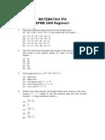 Matematika IPA SPMB 2006 Regional I