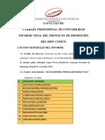 Informe Final de Proyecto de Promocion Del Bien Comun.