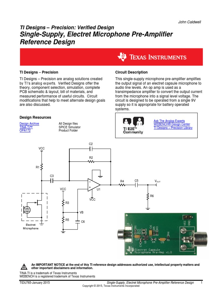 tidu765 pdf | Amplifier | Microphone