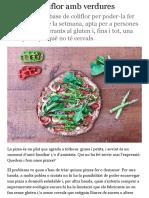 Pizza de coliflor amb verdures | ets el que menges