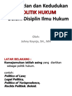 Pengertian dan Kedudukan POLITIK HUKUM Dalam Disiplin Ilmu Hukum
